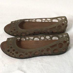 CROCS jelly peep toes sandals flats size 8 Adriana